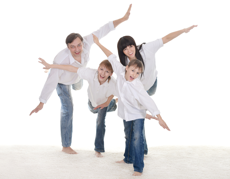 portrait of a cheerful family