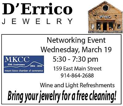 Meet fun people, enjoy lovely refreshments, and get your jewelry cleaned at the D'Errico/Mount Kisco Chamber Neworking Event.