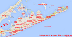judgemental map of the Hamptons