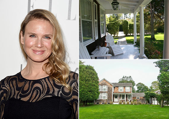 From left: Renée Zellweger and 30 Egypt Lane in East Hampton