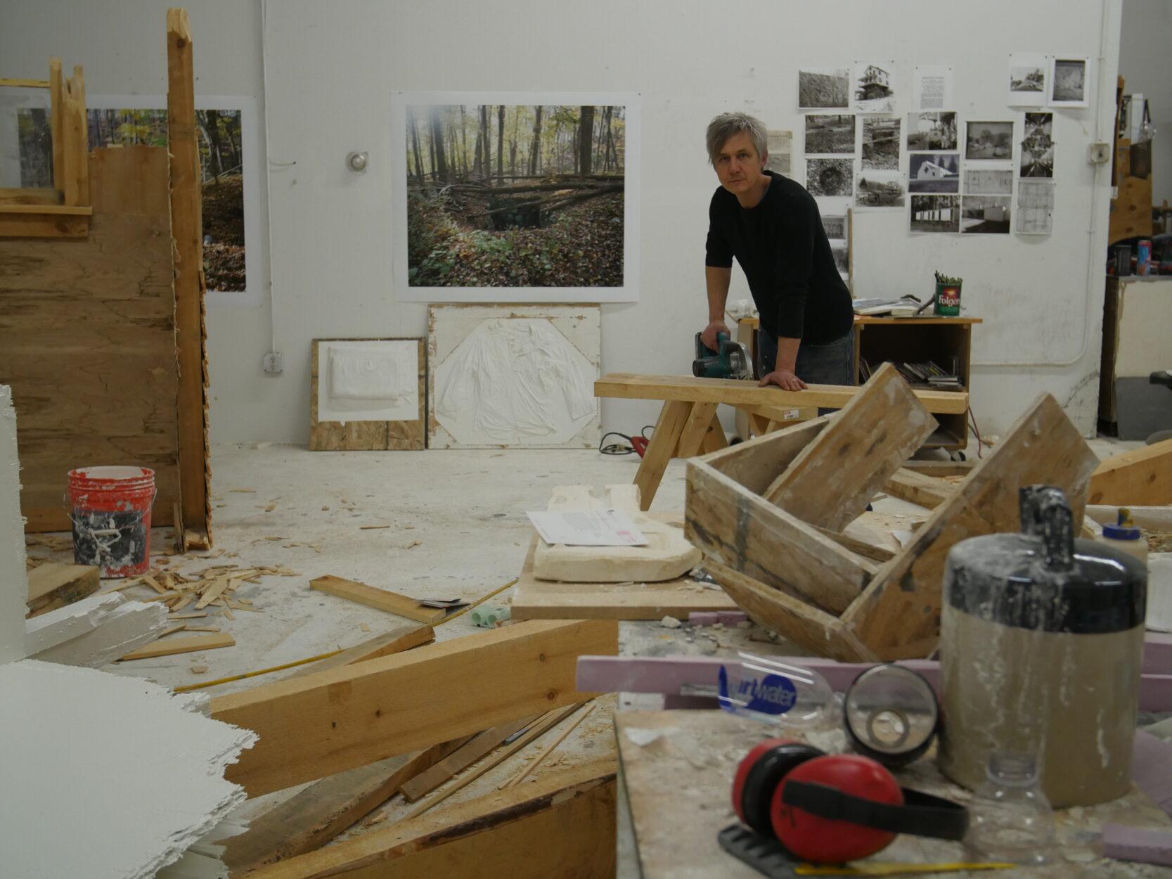 Chris Larson in his studio