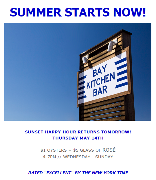 Bay Kitchen Bar has reopened for the Season