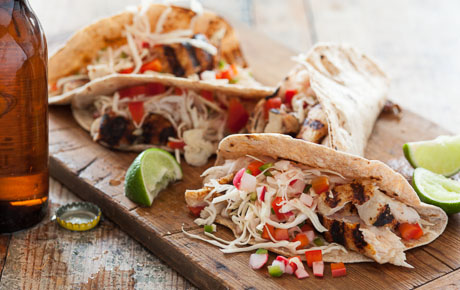 Grilled Paiche Tacos with Pickled Vegetables