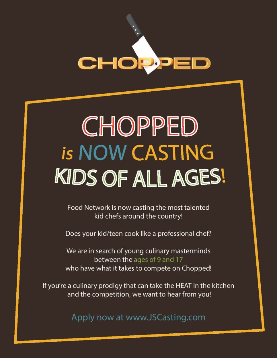 Now Casting CULINARY KIDS ALL AGES for Food Network's Chopped!