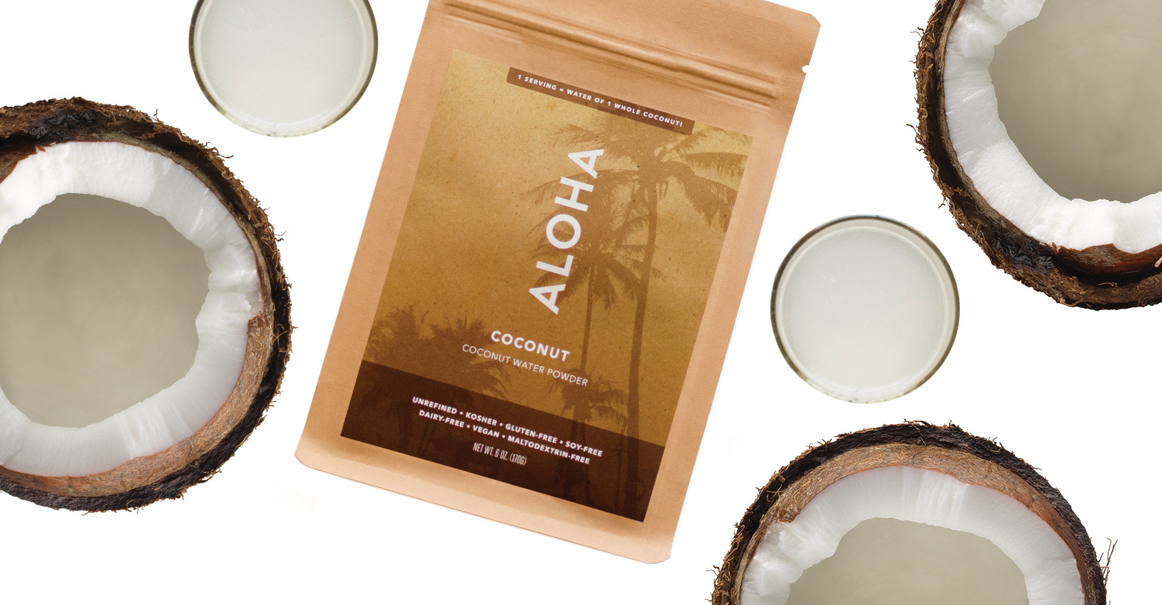 20% off all ALOHA orders of $100+ with purchase of coconut water powder