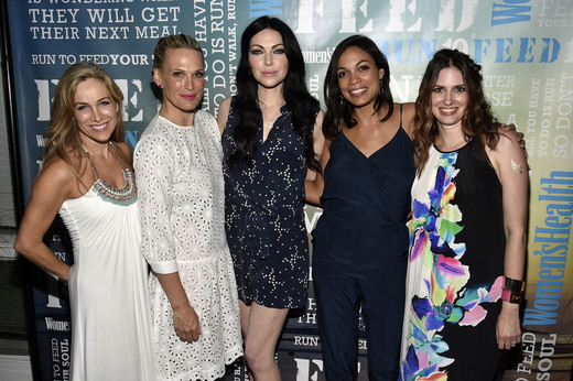 : Publisher of Women's Health Laura Frerer-Schmidt, Molly Simms, Laura Prepron, Rosario Dawson and Editor-in-Chief of Womens Health magazine Amy Keller Laird attend the Women's Health's 4th annual party under the stars for RUN10 FEED10 on August 1, 2015 in Bridgehampton, New York. (Photo by Bryan Bedder/Getty Images for Women's Health) Photo Credit - Getty Images for Women's Health