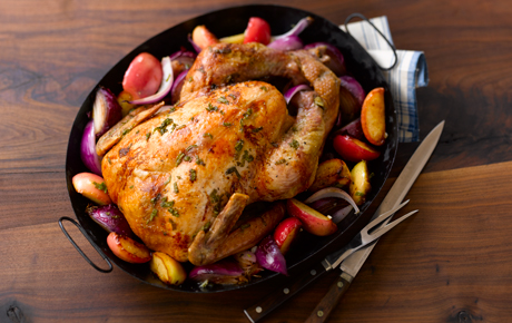 Roast Turkey with Apples and Onions