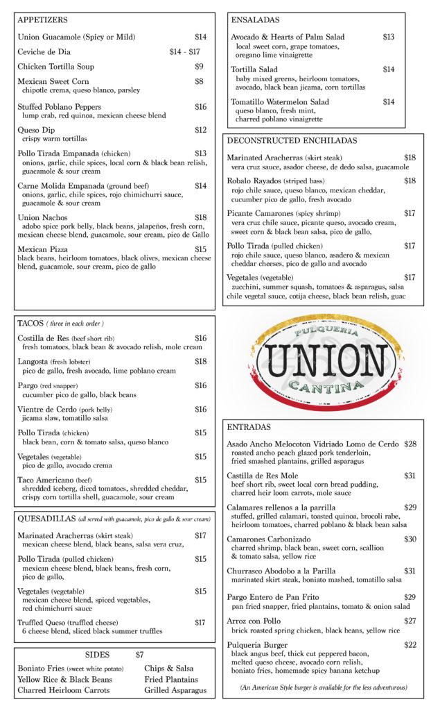 UNION Dinner Menu - Detailed Draft copy