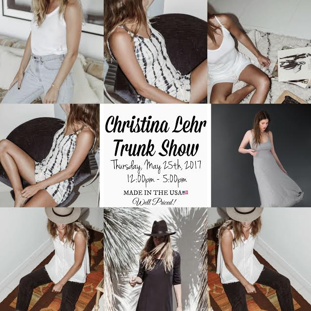 Christina Lehr Trunk Show This Thursday Noon-5PM