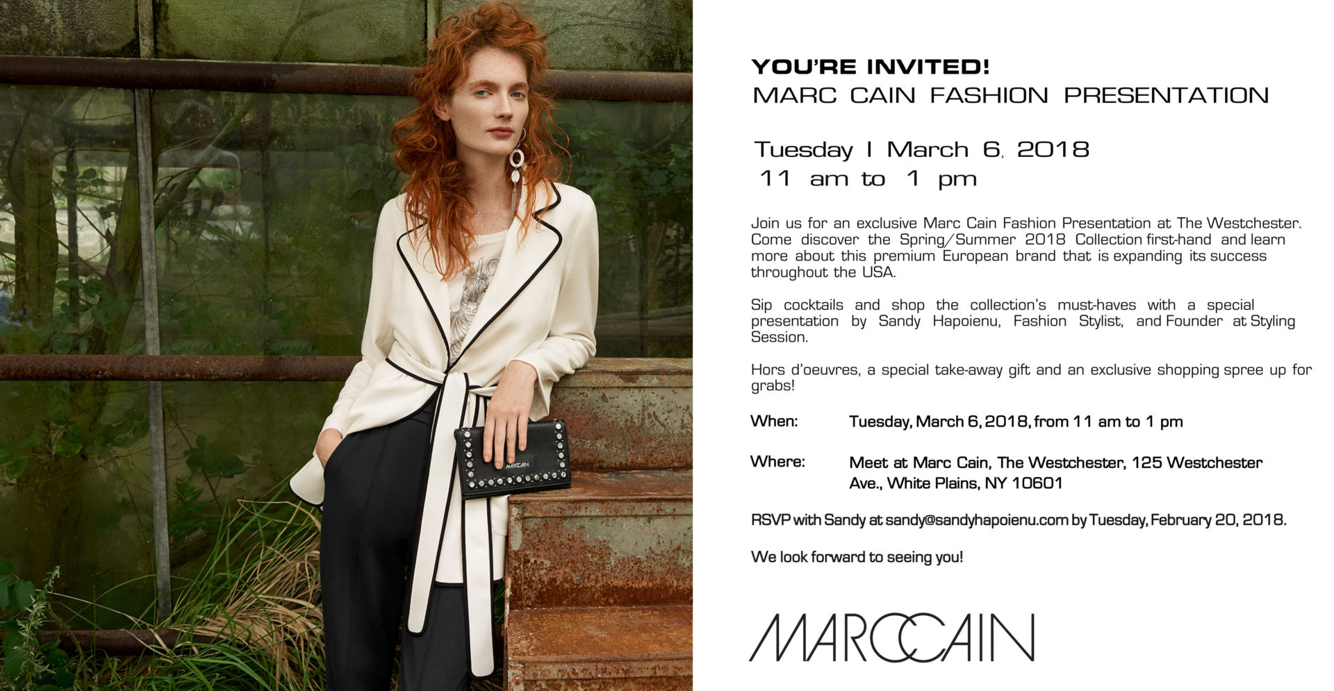 RSVP for Marc Cain fashion show. Hosted by Stylist, Sandy Hapoienu at The Westchester